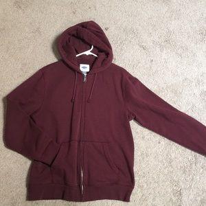 Old navy plain burgundy zip up sweater